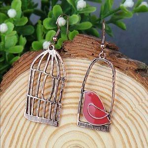 Bird Freedom Cage Earrings